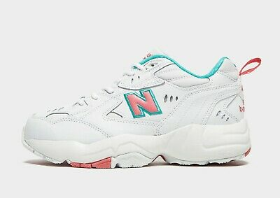 New Balance 608 white with pink and green chunky trainers