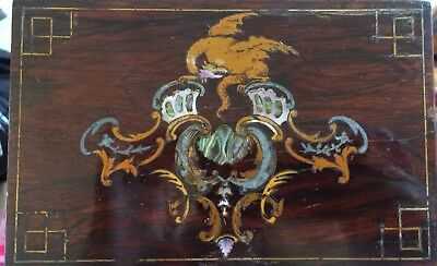 Antique Victorian Rosewood Inlaid Dragon Box