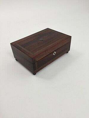 Antique sewing or jewellery box Victorian inlaid rosewood