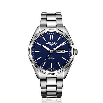 Rotary GB05380/05 Henley Silver Stainless Steel Blue Dial Mens Watch 42mm £245