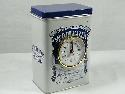 A Quartz Clock made from reproduction McDougall's Flour Tin superb in Kitchen .
