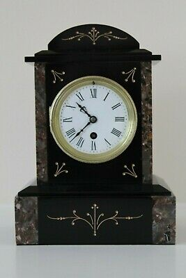 A Delightful French Slate and Marble Mantel Clock c1880