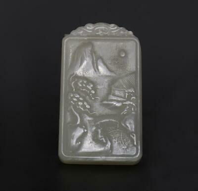 Old Antique Chinese Carved Natural Nephrite HeTian Jade Pendant With Landscape