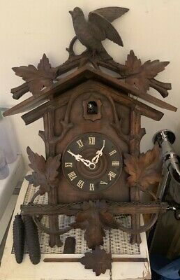 BIG ANTIQUE BLACK FOREST CUCKOO WALL CLOCK Movement ANTIQUE VINTAGE Victorian