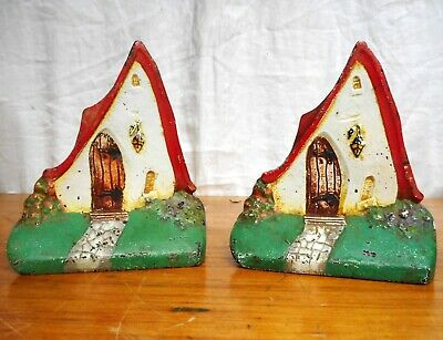 Pr. Antique Bookends Painted Cast Iron Circa 1910
