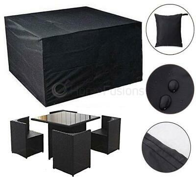 Livivo Black Rattan Cube Set Cover Heavy Duty Waterproof Garden Furniture Protec
