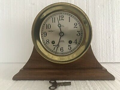 Chelsea NEGUS N.Y.  Ship's Bell Clock with Mahogany Stand & Key 1945-49