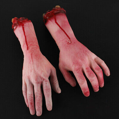 2x Bloody Horror Scary Fake Severed Lifesize Arm Hand House Halloween Party Prop