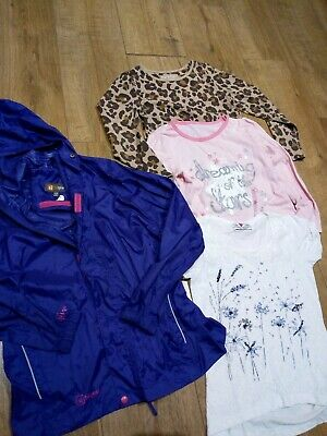 "Girls Age 7-8 Years T-Shirts & ""Pack A Mac"" type Raincoat Bundle"