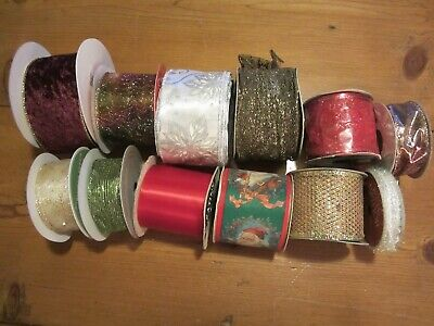 Lot of 12 Holiday/Christmas Ribbon -Assorted styles and sizes