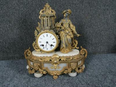 ANTIQUE 19THc. GILT METAL & ALABASTER FRENCH FIGURAL CLOCK, JAPY FRERES MOVEMENT