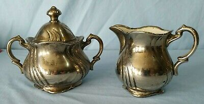 Vintage Art Deco Creamer and Lidded Sugar Silver Plated Copper Porcelain Lined