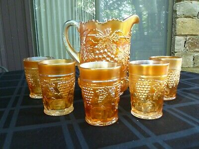 """Northwood """"Grape and Cable"""" Marigold 6 Piece Water Set (Pitcher & 5 Tumblers)"""