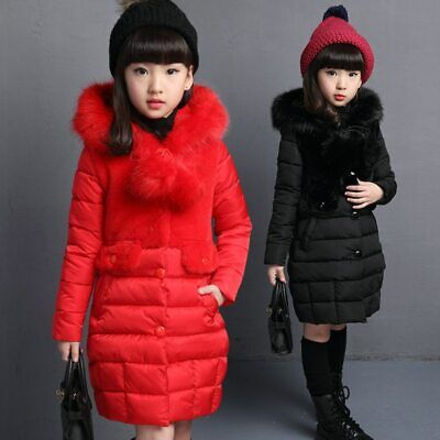 New Cute Fur Hooded Winter Jacket For Girls Warm Coats Girls Winter Parka