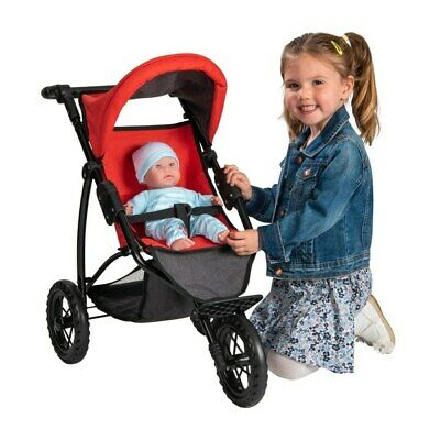 Girls Kids Pushchair Toy 3 Wheel Jogger Stroller Dolls Buggy Red & Grey