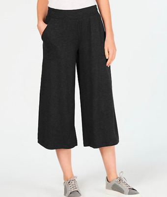 Ideology NWT $54 Cropped Wide-Leg Pants, Charcoal Heather Gray, Size M     FF34