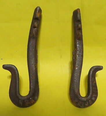 2 Vintage Wrought IRON HOOK Heavy-Duty Farm Primitive Rusty Rustic Plant Hanger