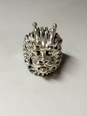 Chinese Collectable Tibet Silver Hand Carved Dragon Ring a5017