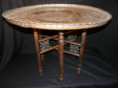 """Antique Middle Eastern Boho Folding Stick Ball Table Victorian 32"""" X 24 Brass."""