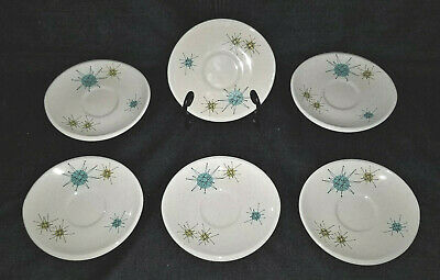 Vintage Mid Century Modern FRANCISCAN STARBURST Space Age Coffee Saucer Lot 6