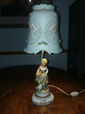 Vintage  Handpainted Bisque Figural Lamp/ Lampshade Girl with Swan