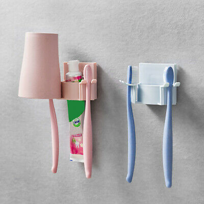 HK- New Wall-Hang Toothbrush Toothpaste Gargle Cup Holder Bathroom Rack Organize