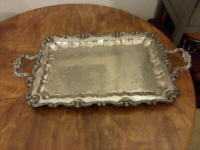 """Vintage English Silver Manufacturing Corp. USA Silver Tray with Handles 26"""""""