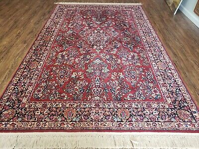 "5' 9"" X 9' KARASTAN #700 Red Sarouk  # 785 Wool RUG  Beauty"
