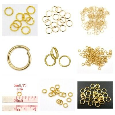 GOLD PLATED Alloy Open Jump Rings Findings Round 4 5 6 8 10 12mm