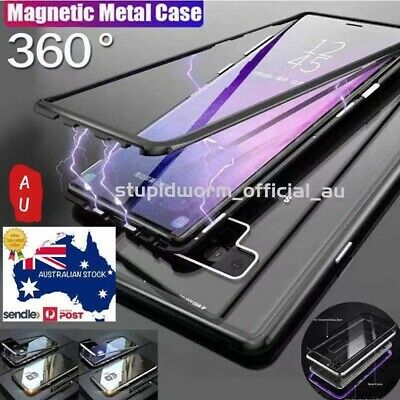 For Samsung S10/S9/S8 Note10 Plus 8/9 Magnetic case Metal Tempered Glass Cover