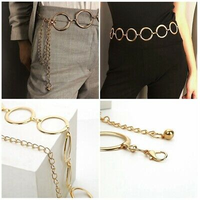 Fashion Womens New Circle Metal Wide Chain Belt Waist Dress Adjusted Waistband