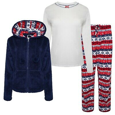 Ladies Ex-Stores 3 Piece Supersoft Fleece Pyjama Set Nightwear, PJ's