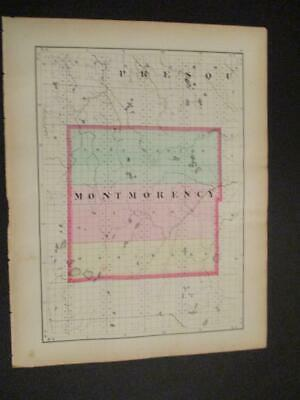 1873 Map of the State of Michigan 2 Sided Montmorency & Otsego Counties