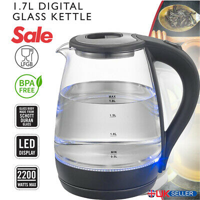 WELQUIC LED Illuminated Glass Electric Kettle Jug Cordless 1.7L 2200W Rapid Boil