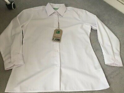 Trutex school blouse girls 32IN 81CM AGE12YRS LONG SLEEVE WHITE 100%COTTON
