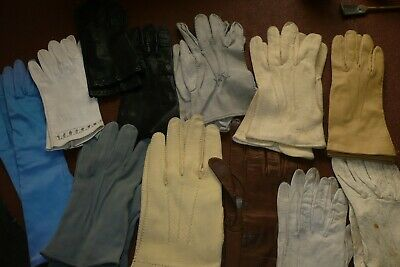 Vintage Leather/Suede/Kid Leather & Material Gloves X 11 Pairs