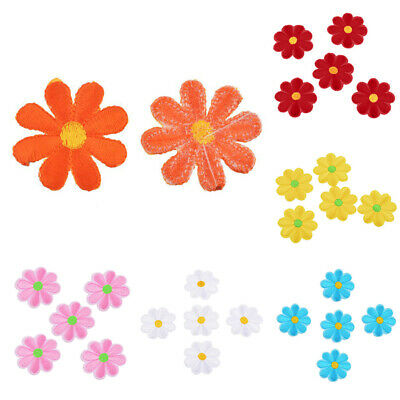 5Pcs/Set Daisy Flower Patch Embroidered Iron On Sew On Patches Bag Dress DIY