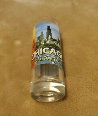 NEW Chicago Windy City Shooter Shot Glass full wrap colorful travel souvenir