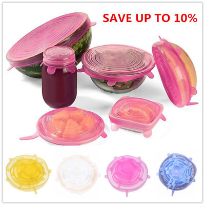 6Pcs Food Grade Silicone Fresh Keeping Wrap Seal Cover Stretch Microwave Lids
