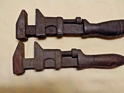 Lot 2 Early Vintage Antique Adjustable monkey wrench Farm tool Girard Wrench USA