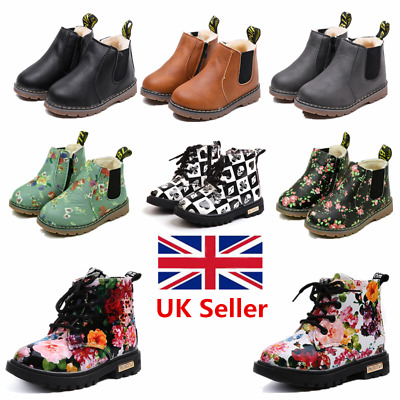 Boys Girls Winter Warm Floral Fur Lined Ankle Boots Chelsea Shoes Kids XMAS Gift