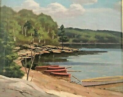 """Hawk Lake"" - Original Oil Painting by Canadian Artist George Thomson b 1868"