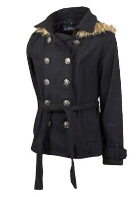 Girls Black Wool Blend Hooded Collared Double-breasted Furry Trim Winter Coat