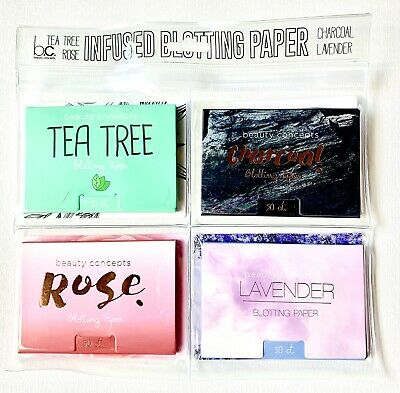 OIL CONTROL BLOTTING PAPER Absorbing 200 SHEETS Tea Tree Charcoal Rose Lavender