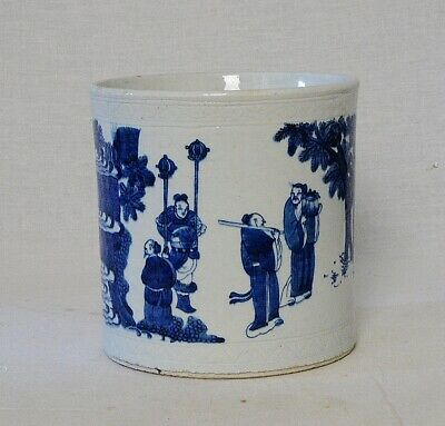 Chinese  Blue and White  Porcelain  Brush  Washer      M3333