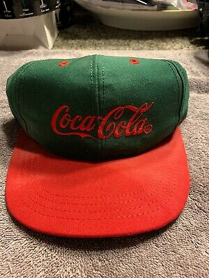 Vintage Snap Back Cap Trucker Hat Coca Cola Louisville MFG USA Green and Red