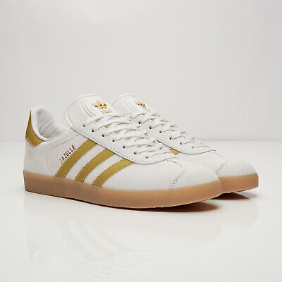 Adidas Originals Gazelle Trainers - Vintage White / Gold Met / Gum  UK 5.5