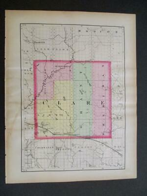 1873 Map of the State of Michigan 2 Sided Gladwin & Clare Counties