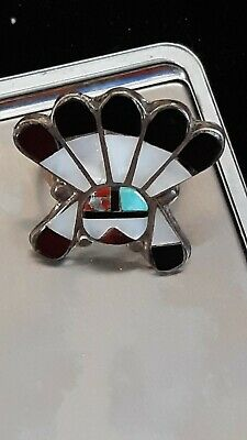 Old Pawn Zuni Sterling Silver & Turquoise Stone  Coral & MOP CHIEF Ring size 6.5