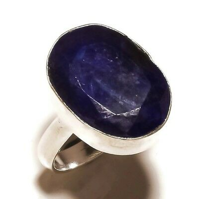 Afghan Blue Lapis Lazuli Gemstone silver plated Handmade Statement Ring US-7.25